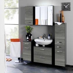 Salle de bains Bobbi graphite/chêne gris