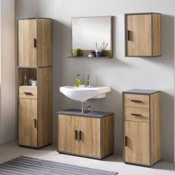 Salle de bains Ariadna chêne vieilli/graphite