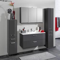 Salle de bains Bobbi graphite/gris brillant