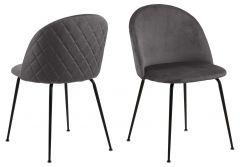 Set de 2 chaises Isa - gris foncé/noir