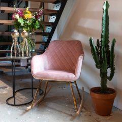 Chaise à bascule Rien velours - rose