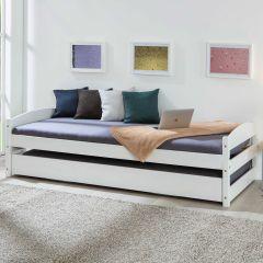 Lit Vindas 90x200 avec lit d'appoint réglable en hauteur - blanc