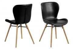 Set de 2 chaises en similicuir Tilda avec pieds obliques - noir/chêne