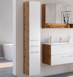 Colonne Sefa 30cm 2 portes & 1 tiroir - chêne/blanc