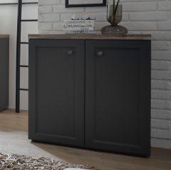 Armoire d'appoint Norah 82cm avec 2 portes - gris/brun
