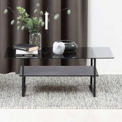 Table basse Yanna 110x60 avec plateau en verre - marbre/nor