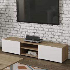 Meuble TV Podium 140 cm - chêne/blanc