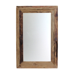Miroir mural Rustika 90x70cm - bois flotté/teck