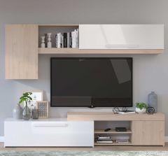 Meuble TV Live 250cm - chêne/blanc brillant