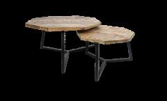 Table basse Urban - bois de manguier / fer - revêtement époxy noir - ensemble de 2