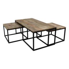Lot de 3 tables basses Tap - bois de manguier/fer