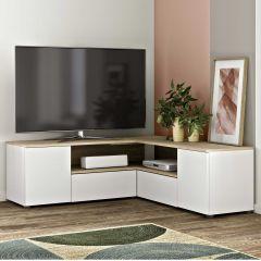 Meuble TV Cleo 130cm - blanc/chêne