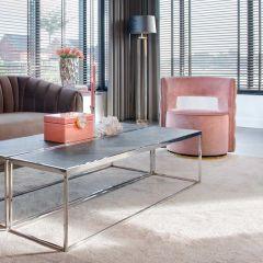 Table basse Bony 160x40cm - noir/argent