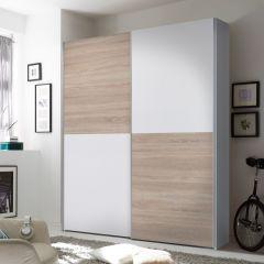 Armoire à vêtements Wouter 170cm avec 2 portes - blanc/chêne