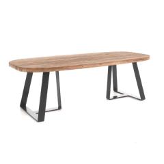 Table de jardin ovale Margarite - noir/teck
