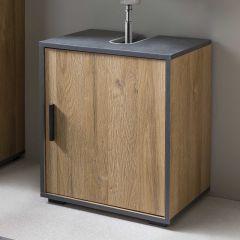 Meuble sous lavabo Ariadna 45cm avec porte - chêne vieilli/gris graphite