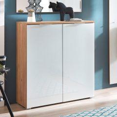 Armoire à chaussures Tille 89cm avec 2 portes - blanc/chêne