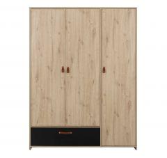 Armoire Liam 152cm avec 3 portes & 1 tiroir - chêne artisan