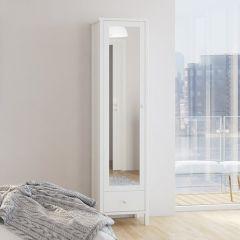 Garde-robe Tarik 49cm avec porte miroir & tiroir - blanc