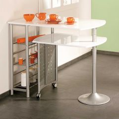 Table de bar Filamento avec rangements - blanc