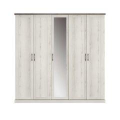 Armoire Mona 230cm avec 5 portes & miroir - chêne helvézia blanchi