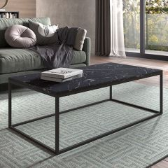 Table basse Antonio 60x120 industriel - marbre foncé