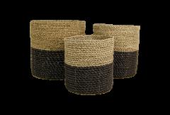 Set de paniers - raphia / grass - naturel / noir - lot de 3