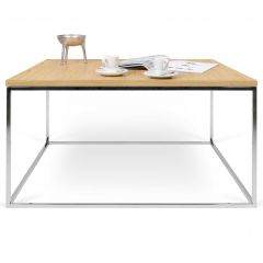 Table basse Gleam 75x75 - chêne/chrome