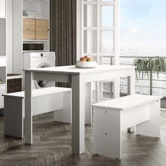 Table à manger Nice avec bancs - blanc