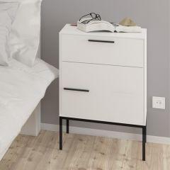 Table de chevet Sigrid avec tiroir & porte - blanc