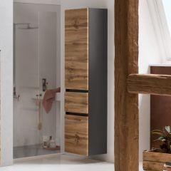 Colonne Kornel/Luna 40cm 2 portes & 1 tiroir - gris graphite/chêne