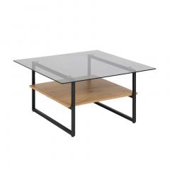 Table basse Yanna 80x80 avec plateau en verre - chêne sauvage/noir