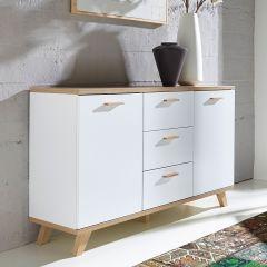 Bahut Ousmane 144cm avec 2 portes & 3 tiroirs - blanc/chêne