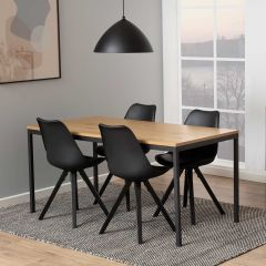 Table à manger Dover 160x80 - chêne/noir
