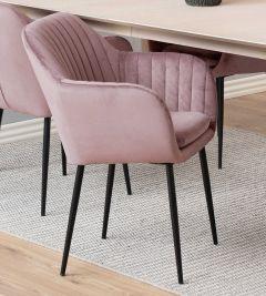 Chaise avec accoudoirs Hermeline - vieux rose/noir