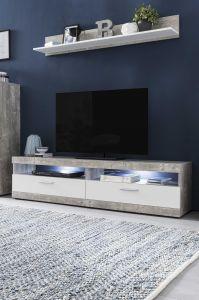 Meuble TV Otis 160cm avec tablette murale & éclairage LED - blanc/béton
