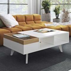 Table basse Plato - blanc/chêne