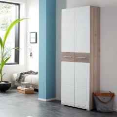 Armoire vestiaire Molde 59cm avec 2 portes - blanc/chêne