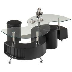Table basse Shana avec 2 poufs - verre/noir