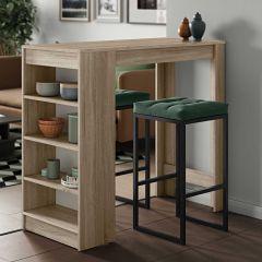 Table de bar Aravis 115x50 avec rangement - chêne