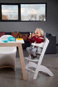 Chaise évolutive Lambda 3 avec tablette à manger - blanc
