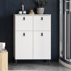Armoire de salle de bains Tucker 60cm avec 2 portes & 2 tiroirs - blanc