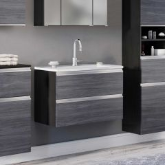 Meuble lavabo Lotuk 80cm 2 tiroirs - chêne gris