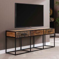 Meuble TV Florin 135 cm 3 tiroirs - bois dur