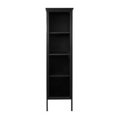 Vitrine Manhattan 180x45cm à 1 porte - métal noir/verre