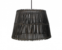 Suspension - ø48 cm - rotin - noir lavis
