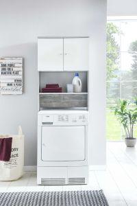 Meuble Zehra pour machine à laver - blanc/béton