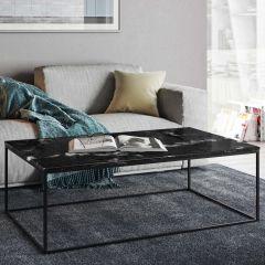 Table basse Gleam 120x75 - marbre noir/acier