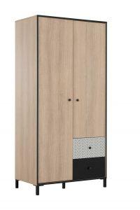 Armoire Nagara 90cm avec 2 portes & 2 tiroirs - chêne noisette