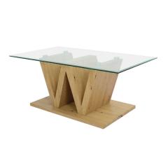 Table basse Wass 110cm - verre/chêne